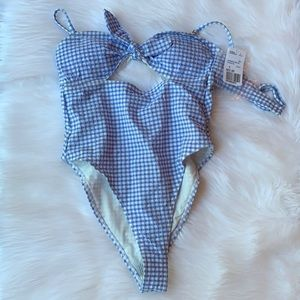 Forever 21 Swim - NWT! Blue Gingham One Piece Swimsuit